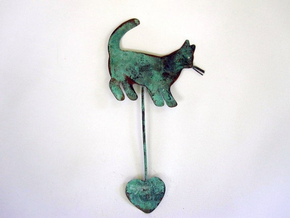 Turquoise Cat Sculpture - Aqua Kitty with Heart - Wall Hanging Kitty Cat Decor