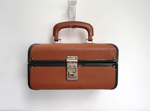 Train Case - Small Travel Cosmetic Suitcase Brown and Black