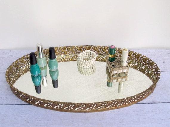 Vintage Mirror Vanity Tray - Gold Filigree Tray Extra Large