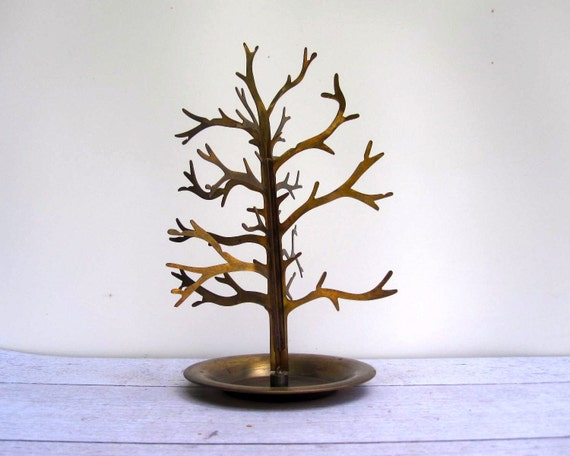 Spooky Brass Tree Sculpture for Halloween - Jewelry Organizer