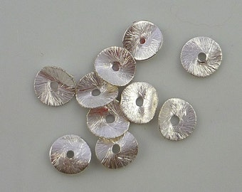 Sterling silver vermeil brushed copper wavy disc beads 8mm set of 10