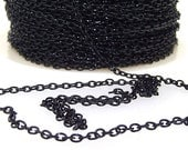 1m 38inch two of  Black on aluminum alloy egg shape necklace loop chain loop about 3mmx 3mm