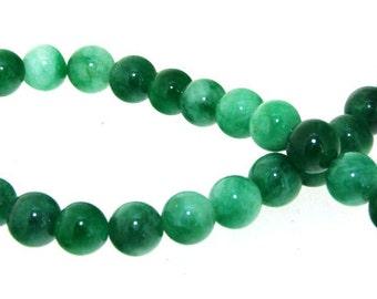 """Charm 26Beads Round Green Jade 8mm Gemstone Beads 7.5"""""""