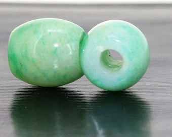 Charm Big Hole  5Beads Drum Green Jade 12mmx14mm Gemstone Beads Hole 5MM