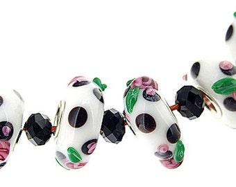 Big Hole  Bead Issue lampwork 4.5mm 6Beads rose flower white Lampwork bead Candy  Handmade jewelry designs European Style
