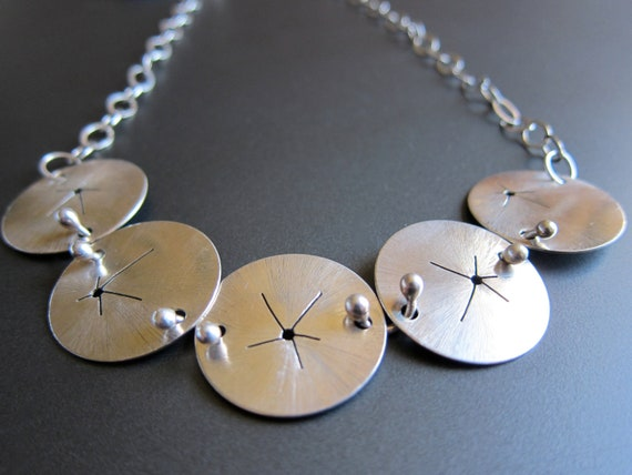 Sterling Silver Hand-Etched Sand Dollars Necklace