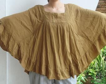 B8, Mustard Yellow Butterfly Effect Cotton Blouse, yellow blouse