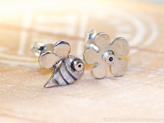 BEE and a FLOWER Combo Sterling Silver Stud Earrings