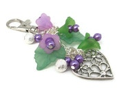 Purse Charm in Purple and Green Flowers with Silver Heart