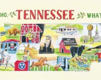 The Who, What and Where of Tennessee postcards pack of 10 signed by artist