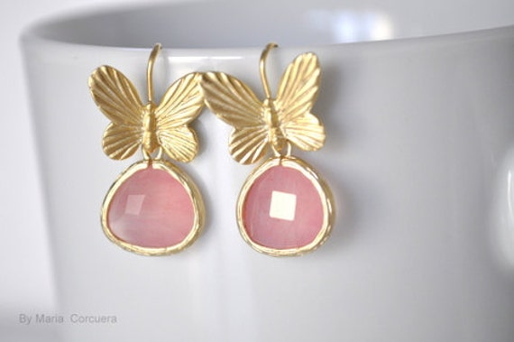 Gold plated pink butterfly earrings