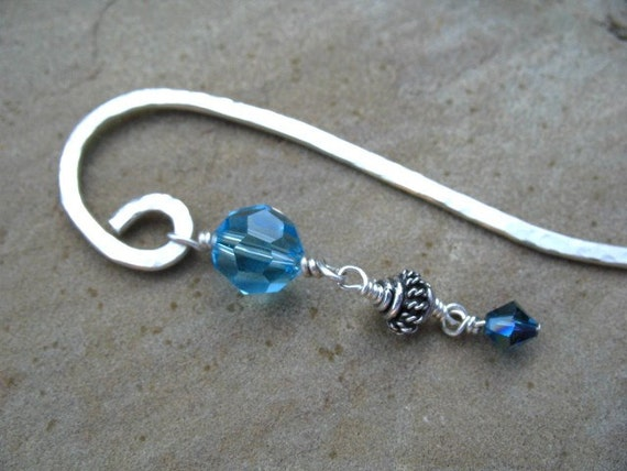 Sterling Silver Bookmark Blue Crystal Beads