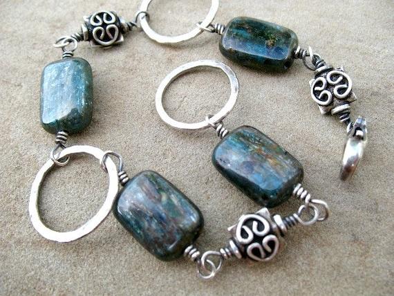 Blue Bracelet Sterling Silver Jewelry Kyanite Rustic Earthy Jewelry Under 50