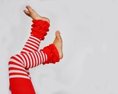 Candy Cane Stripe Footless Ruffle Tights Red and white stripe