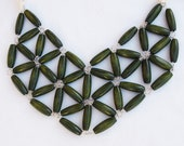 earthy green rice wood geometric mosaic necklace