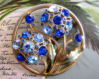 Gold and Blue Rhinestone Floral Circle Pin Brooch