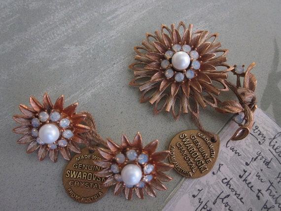 Signed Swarovski Opalescent Crystal Brooch & Earrings Set w/ Original Tags