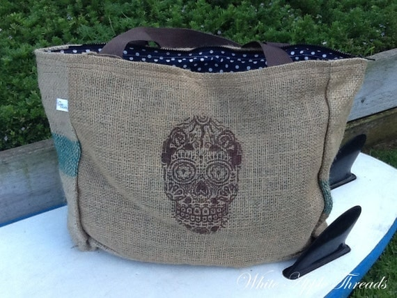 Day of the Dead Skull Design Eco-Friendly Zippered Market Tote