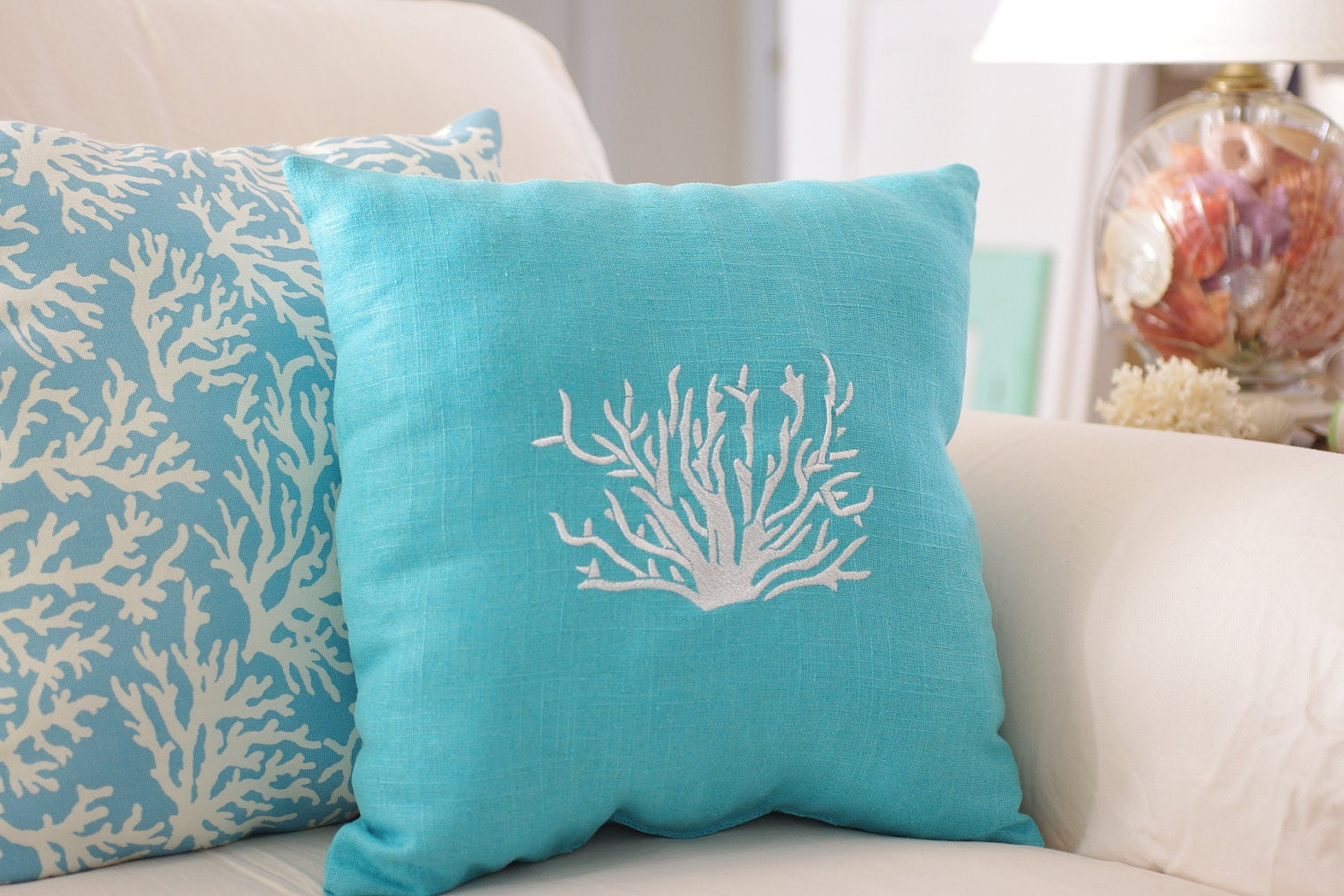 Coastal Home Throw Pillows : Beach Decor Turquoise Blue Throw Pillow Linen Coral