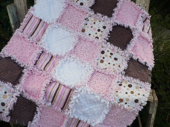 Retro Baby Girl Rag Quilt- Pink and Cocoa Brown Dots and Stripes