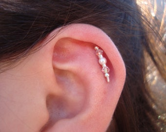 Petite Sterling Silver Swarovski & Pearl Cartilage Ear Art Pin