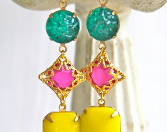 Vintage Bright Yellow Glass Stones Fuchsia Pink Purple Emerald Green Gold Tone Etched Glass Drop Dangle Earrings - Statement, Bridal