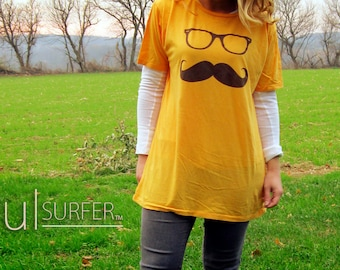 Gold Mustache Tshirt with Brown Ink