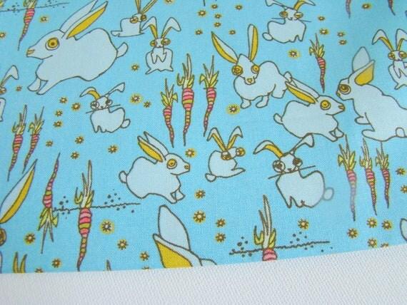 Garden Friends Fabric Funny Bunnies Teal Last Yard