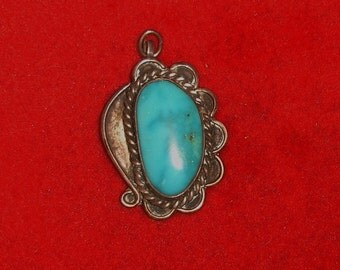 Vintage Native American Southwestern Turquoise Cab & Sterling Silver Necklace Pendant