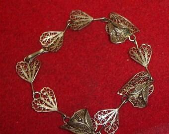 Vintage Sterling Silver Fine Fligree Leaf & Flower Link Bracelet