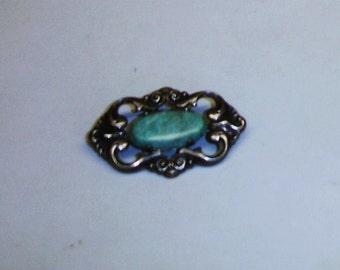 Antique Art Nouveau 835 Silver & Jade Pin Brooch