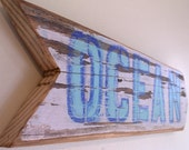 Blue Ocean Beach Sign with Original Art Design on Reclaimed Distressed Wood Coastal Surf Nursery Birthday Party Decor