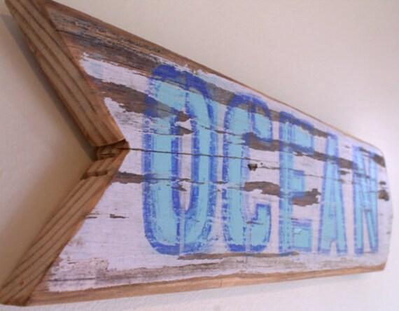 Blue Ocean Beach Sign with Original Art Design on Reclaimed Distressed Wood Coastal Surf Nursery Birthday Party Decor