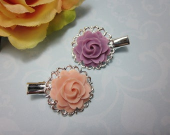 Flower Hair clips. Set of 2. Lilac and Baby Pink Roses silver plated filigree alligator hair clips. Gift for her