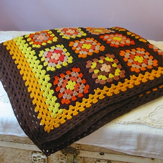 Colorful Autumn GRANNY SQUARE AFGHAN Hand Crochet Lap Robe, Brown, Ecru, Orange, Gold, Yellow, Pretty Fall Chill Chaser