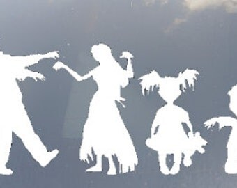 Zombie Family Car Sticker set of 4