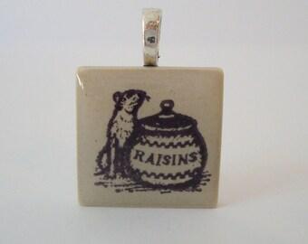 Ferret Necklace Raisin Jar Rubber Stamped Porcelain Tile Pendant