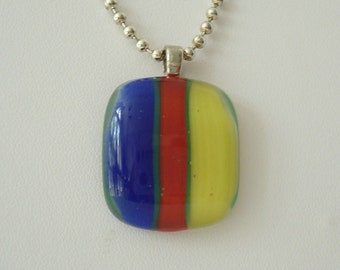Striped Primary Color Fused Glass Pendant Necklace