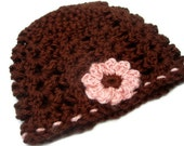 Crochet Baby Girl Hat - Chocolate Brown w/ Pink Flower and Trim
