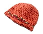 Crochet Fall Baby Girl Hat - Handmade Cloche Style Hat w/ Bow - Salmon Pink