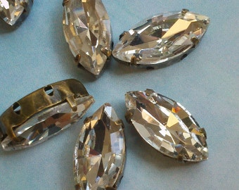 8 Pieces of  15mm x 7mm Vintage Faceted Navette  Shaped  Czech Crystal  Clear Glass Rhinestone Beads with Brass Prong  Sew on Setting.