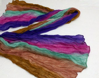 Soft and Romantic Hand Dyed Scarf-- Turq,Jade,Light Brown, Wine ,Purple and Gold