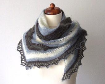 white black blue shawl, handknit triangle scarf
