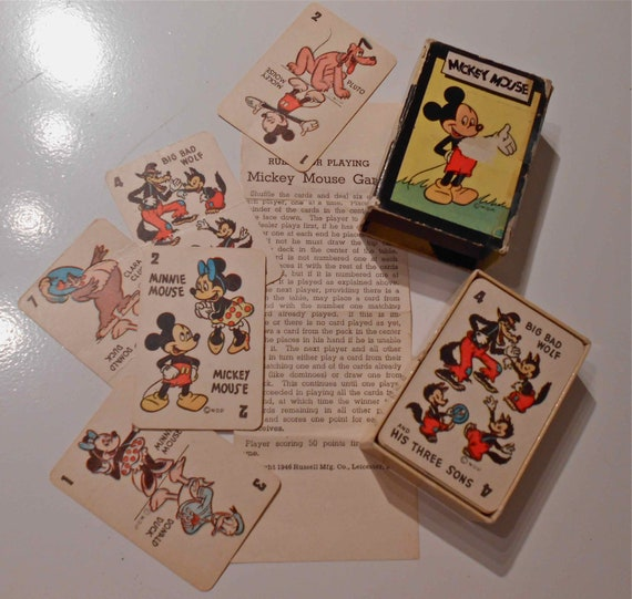 Sale Mickey Mouse Card Game with Box and Instructions