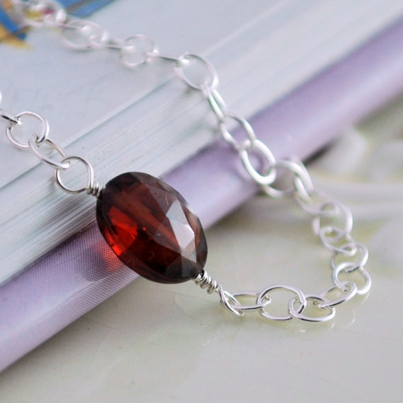Genuine Garnet Bracelet January Birthstone Child Children Girl Genuine AAA Cranberry Red Gemstone Wire Wrapped Sterling Silver Jewelry