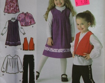 Simplicity 3668 Easy to Sew Girls Pants Capelet Vest Dress or Jumper and Tunic Sewing Pattern