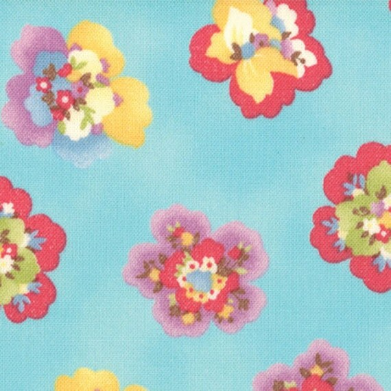 Coquette - Pressed Flowers Aqua by Chez Moi for Moda Fabrics - Last Yard