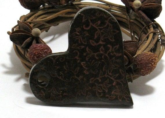 Butterfly Heart Ceramic Pendant - (OOAK Stoneware Pendant)