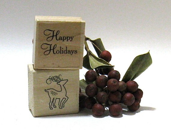 Holiday Stamps - Reindeer, Holly, Ornament, Happy Holidays (Set of 4)