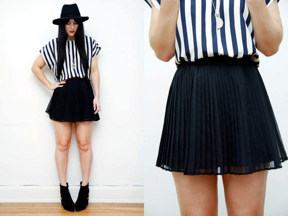 RESERVED Sheer Black Nautical Pleated  Gothic dress  Mini Skirt